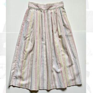 Vintage 80's pastel stripe & neutral midi skirt